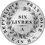 1793 Silber Münze Livres Taler 6