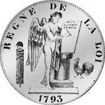 6 Livres Taler Silber Münze Rückseite 1793