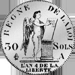 1792 Münze 30 Sols Silber 1 1/2 Livre Stück
