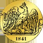 Rückseite Einfacher Friedrichdór 1841 Gold Münze