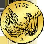 Rückseite 1/2 Friedrichsdór Goldmünze von 1752