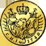 Rückseite 1/2 Friedrichsdór 1749