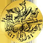 Rückseite Friedrichsdór (doppelt) von 1751 Gold Münze