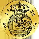 Gold Münze Rückseite Dukat von 1732