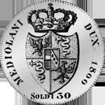 1800 Silber Münze 30 Soldi Stück