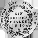 Rückseite Reichs- oder Kurant-Taler 1816 Silber Münze