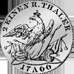 Rückseite 1/2 Reichs oder Kurant Taler 1766 Silber Münze