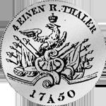Rückseite 1/4 Reichs oder Kurant Taler 1750 Silber Münze