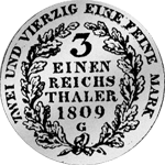 Rückseite 1/3 Kurant oder Reichs Taler 1809 Silber Münze