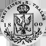 1/3 Kurant oder Reichs Taler 1800 Rückseite Silber Münze