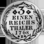 Silber Münze Rückseite 1/4 Reichs- oder Kurant Taler von 1768
