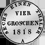 Rückseite 1/6 Kurant oder Reichs Taler 1818 Silber Münze