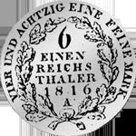 Rückseite Silber Münze Kurant Taler 1816