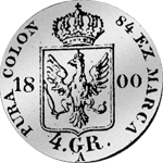 Rückseite Silber Münze 1/6 Kuranttaler 1800