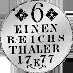 Silber Münze Rückseite 1/6 Kuranttaler 1777